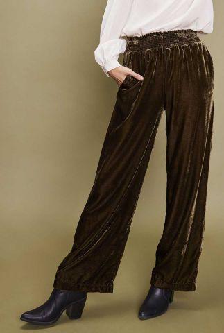 khahi kleurige velours broek met elastische band meyeur