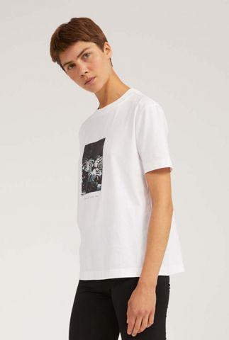 wit t-shirt met botanische opdruk miaa nature knows 30003203
