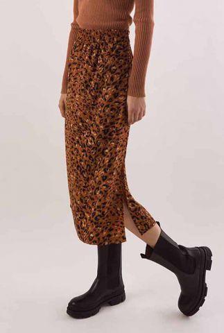 lichtbruine midi rok met luipaardprint demi skirt