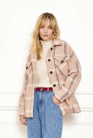 korte licht roze jas met klassieke kraag en ruit dessin mignon