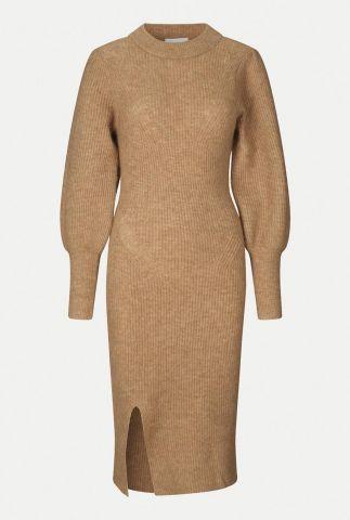 gebreide camel kleurige jurk van alpaca wolmix mika knit dress