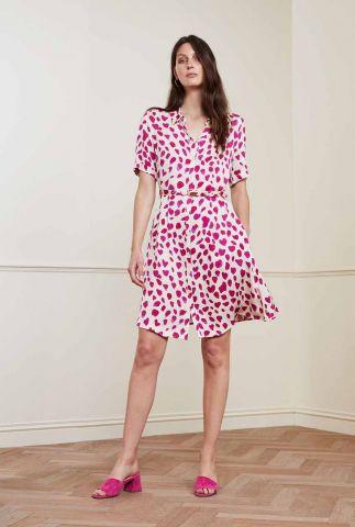 gevlekte a-lijn jurk met ceintuur mila dress cherry