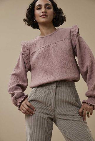 oud roze blouse van mousseline met ruffles detail mila gauze blouse