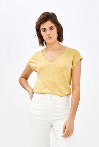 geel linnen t-shirt met v-hals mila top linen