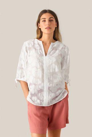 witte top met v-hals en bloemen motief mila blouse