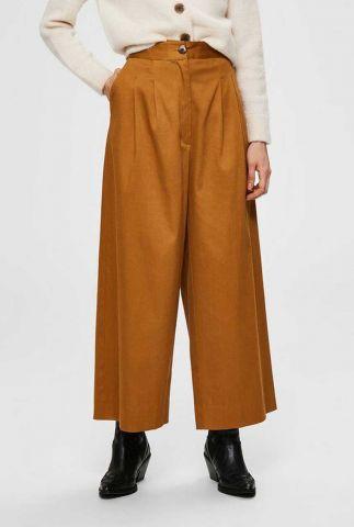 bruine high waist broek met wijde pijpen milla wide pant 16072051