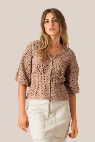 oud roze katoenen top met broderie details milly ss blouse