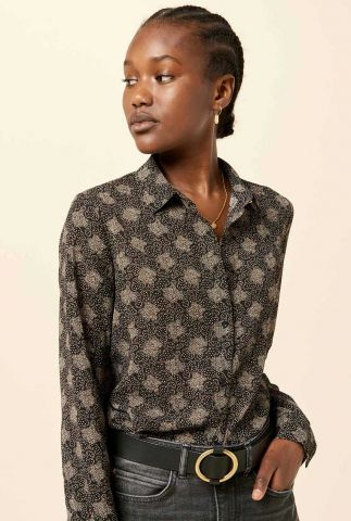zwarte blouse met grafische all-over print mimia