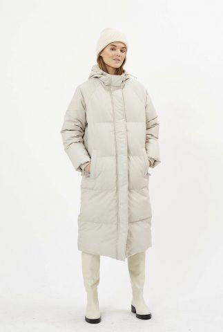 licht grijze lange puffer jas met capuchon flawola 7802