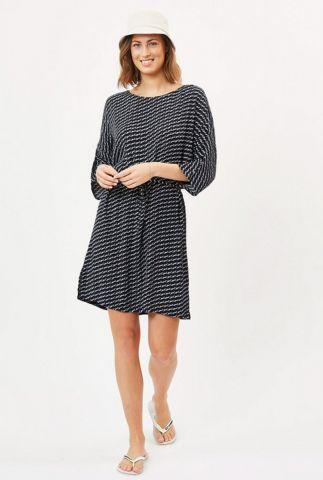 korte donkerblauwe jurk met all-over witte print maelle 6623