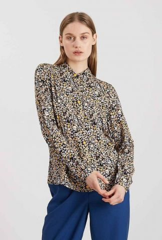 zwarte ecovero blouse met gekleurd all-over dessin bilda 9201