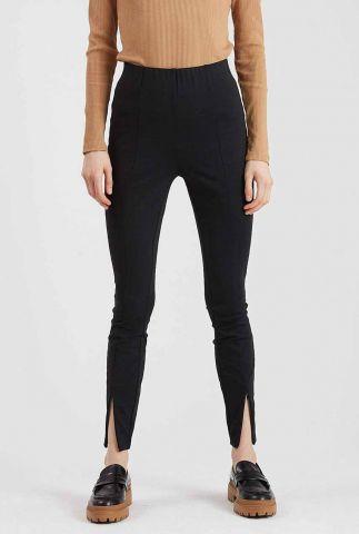 zwarte slim fit broek met elastische taille en split details linosa 9244