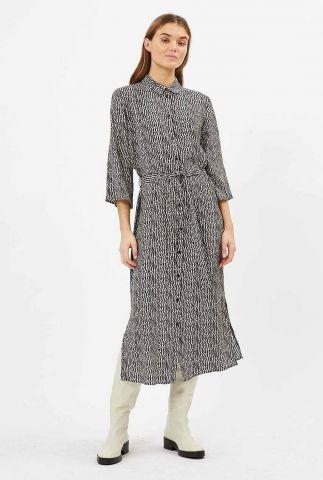 beige midi jurk met 3/4 mouwen en zebraprint norri 9062
