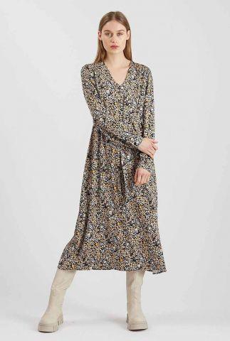 zwarte midi jurk met gekleurd all-over dessin nutilia ls 9201