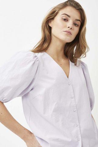 lila kleurige blouse met v-hals en korte pofmouwen oretta 8069