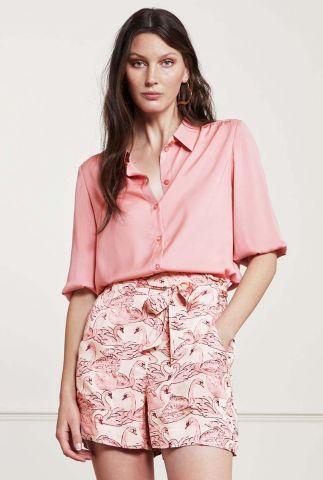 roze zijde look blouse met halflange mouwen Mira Short Blouse