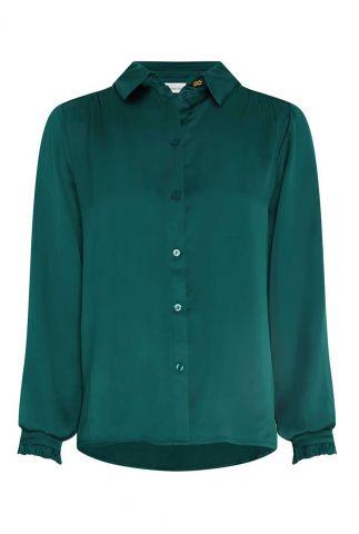 petrol kleurige blouse met ruches mira boho blouse deep teal