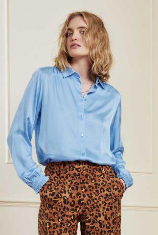 lichtblauwe satijnen blouse met ruches mira boho blouse sky blue