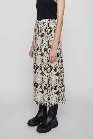 beige maxi rok met een zwart gevlekt dessin misty maxi skirt