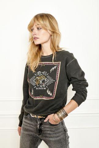 antraciet kleurige sweater met gekleurde opdruk state sweat