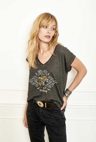 antraciet t-shirt met v-hals en lichte opdruk tigriana t-shirt