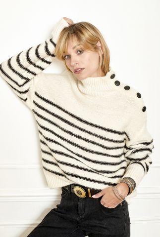 off-white trui met streep dessin en knoop detail kurma knit