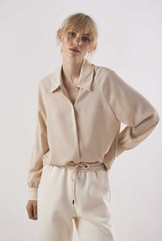 zandkleurige blouse met ingeweven streep dessin shore stripe shirt l/s