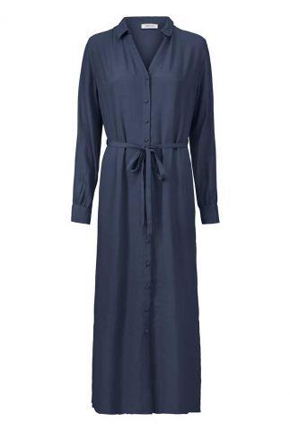donker blauwe maxi jurk met ceintuur alissa dress
