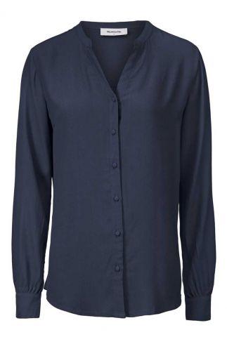 donker blauwe blouse met knoopsluiting alissa shirt