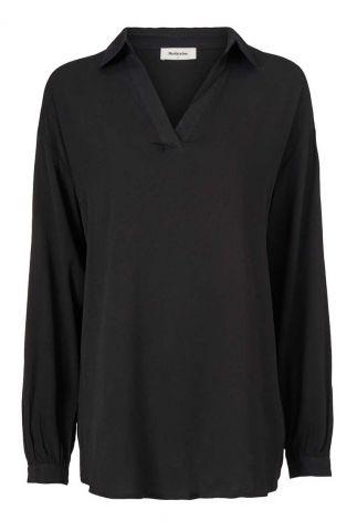 zwarte blouse met v-hals en kraagje anastacia shirt