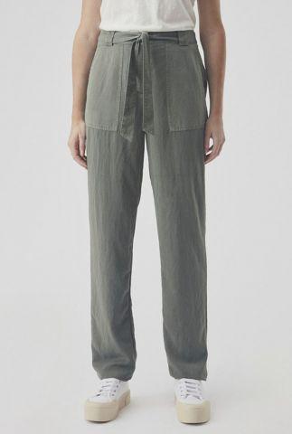 donker groene broek met striksluiting bellevue pants