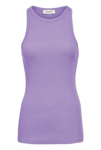 mouwloze lila top met fijn rib dessin igor top lavender