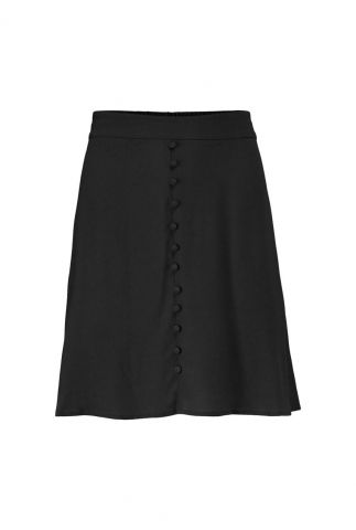 korte zwarte rok met faux stoffen knoopjes isa skirt