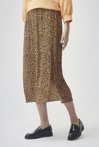 zwarte midi rok met all-over print en diepe split isabella print skirt