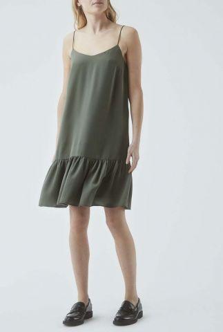 legergroene satijnen jurk met spaghettibandjes janie dress