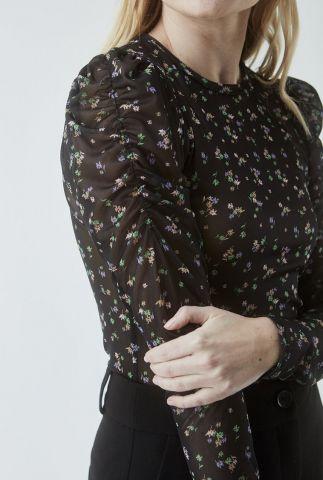zwarte top met pofmouwen en bloemenprint jed print top