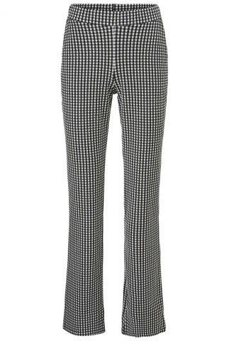 zwart geruite flared broek met elastische band jeff pants