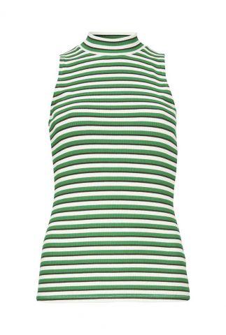 gestreepte mouwloze top met rib dessin krown stripe top
