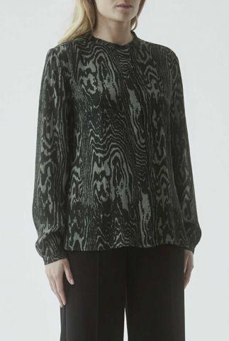 donker groene blouse met grafische print mae print shirt