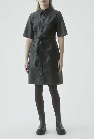 donker groene faux leather jurk met ceintuur marry dress