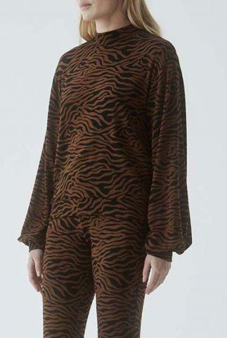 zachte trui met hoge hals en zebra print ming sweat