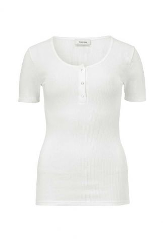 wit t-shirt met rib dessin en drukknoopjes orson t-shirt