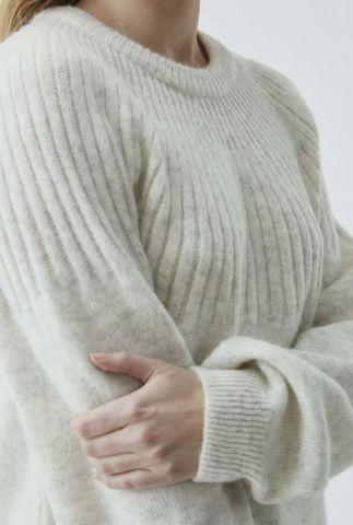off-white trui met ingebreid streep patroon truce o-neck