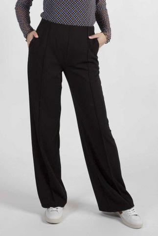 zwarte straight fit broek met elastische tailleband gene pants