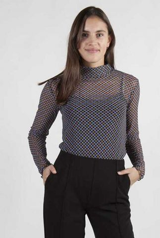 semi-transparante top met col fairy print top