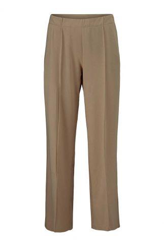 camel kleurige broek met elastische band en plooien gene pants
