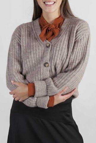 taupe kleurig vest van wol mix met pof mouwen goldie cardigan