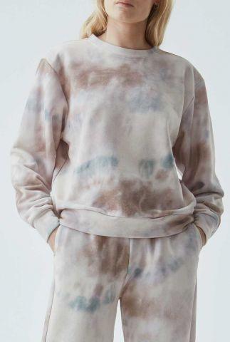 beige tie dye sweater holly print sweat
