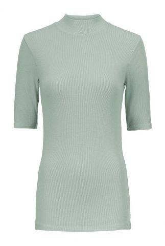 groen rib gebreid t-shirt met opstaande kraag krown t-shirt