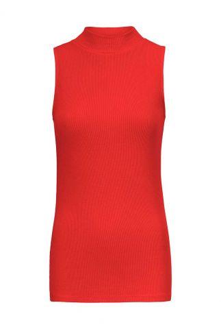rode mouwloze rib top met opstaande kraag krown top